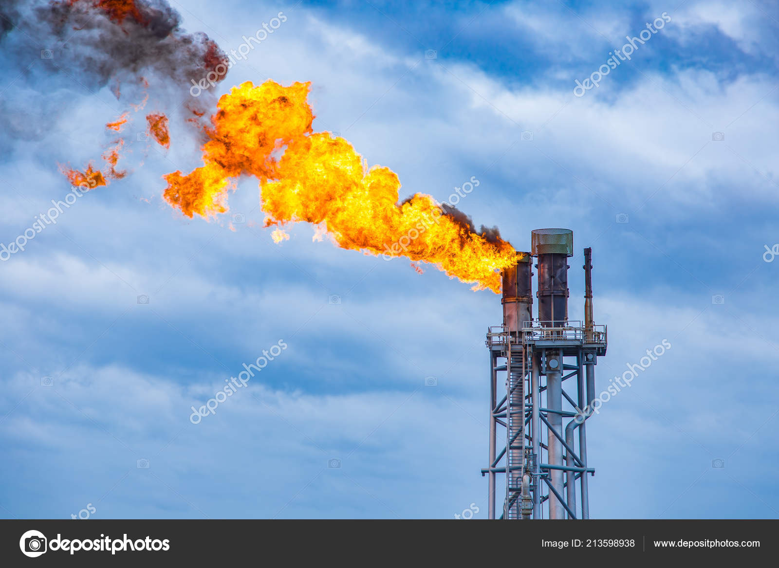 Fire Flare Stack Oil Gas Central Processing Platform While