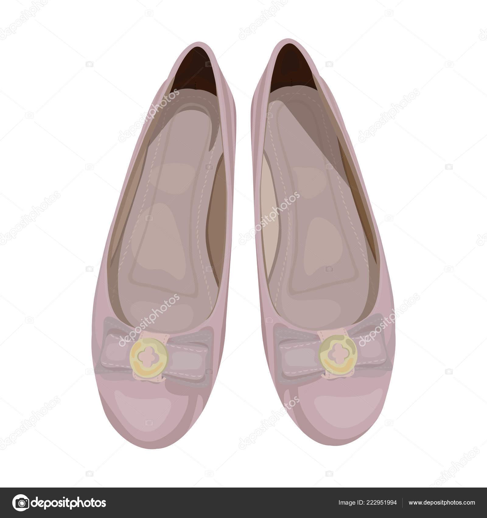 Vector Illustration Women Ballet Flats Dusty Pink Color View