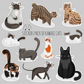 Vector Set of Stickers of Cats in Kawaii Style