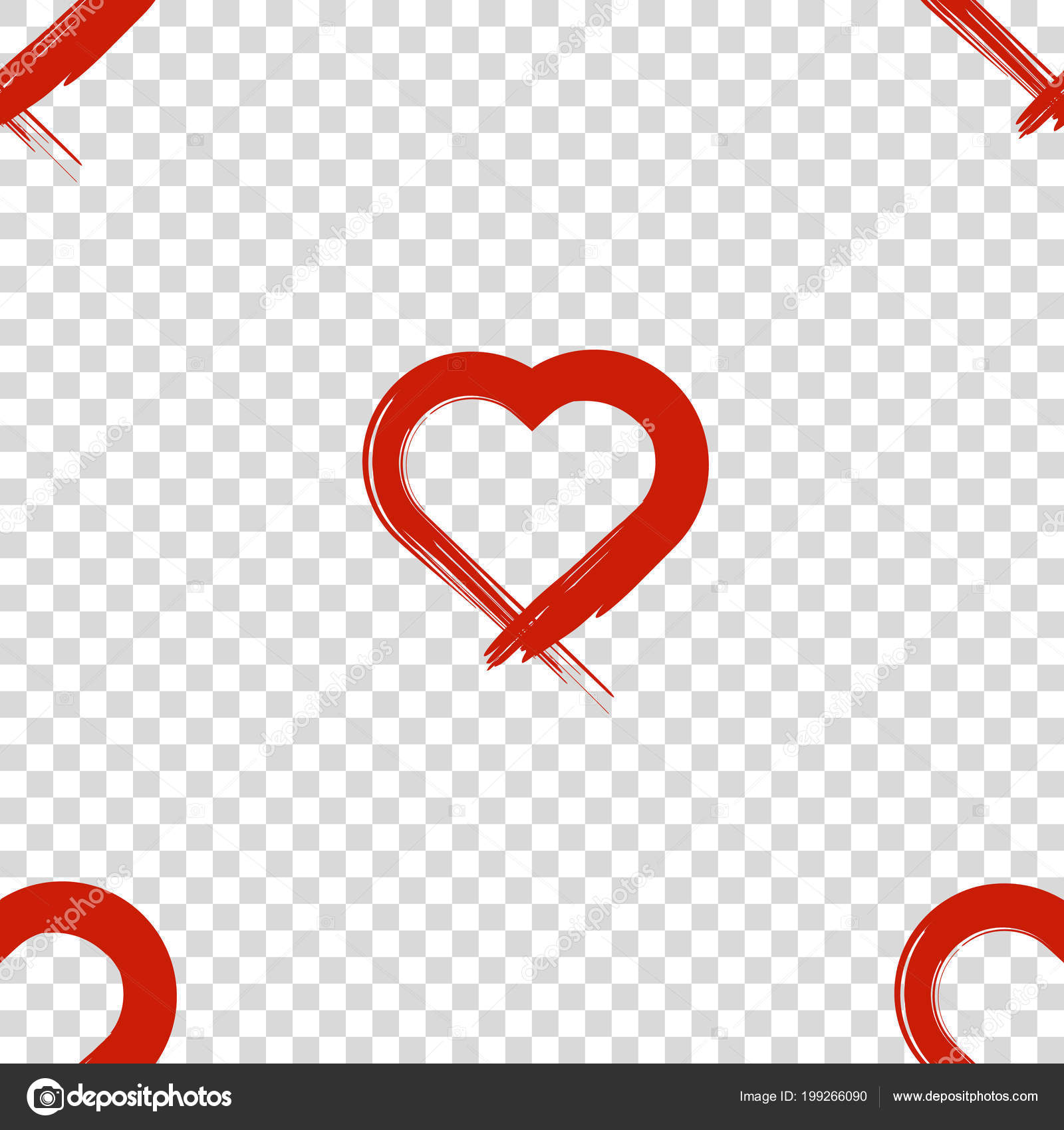 Image Of The Heart Inflicted With A Brush Seamless Pattern Vector