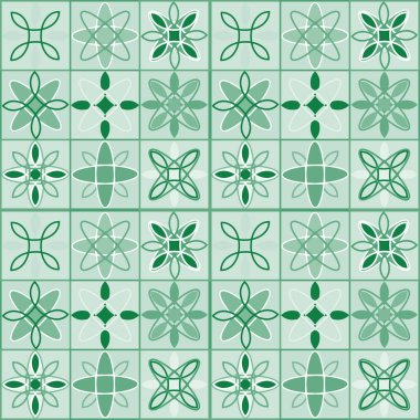 Seamless pattern with ethnic geometric ornaments. Ceramic tiles. Vector illustration.