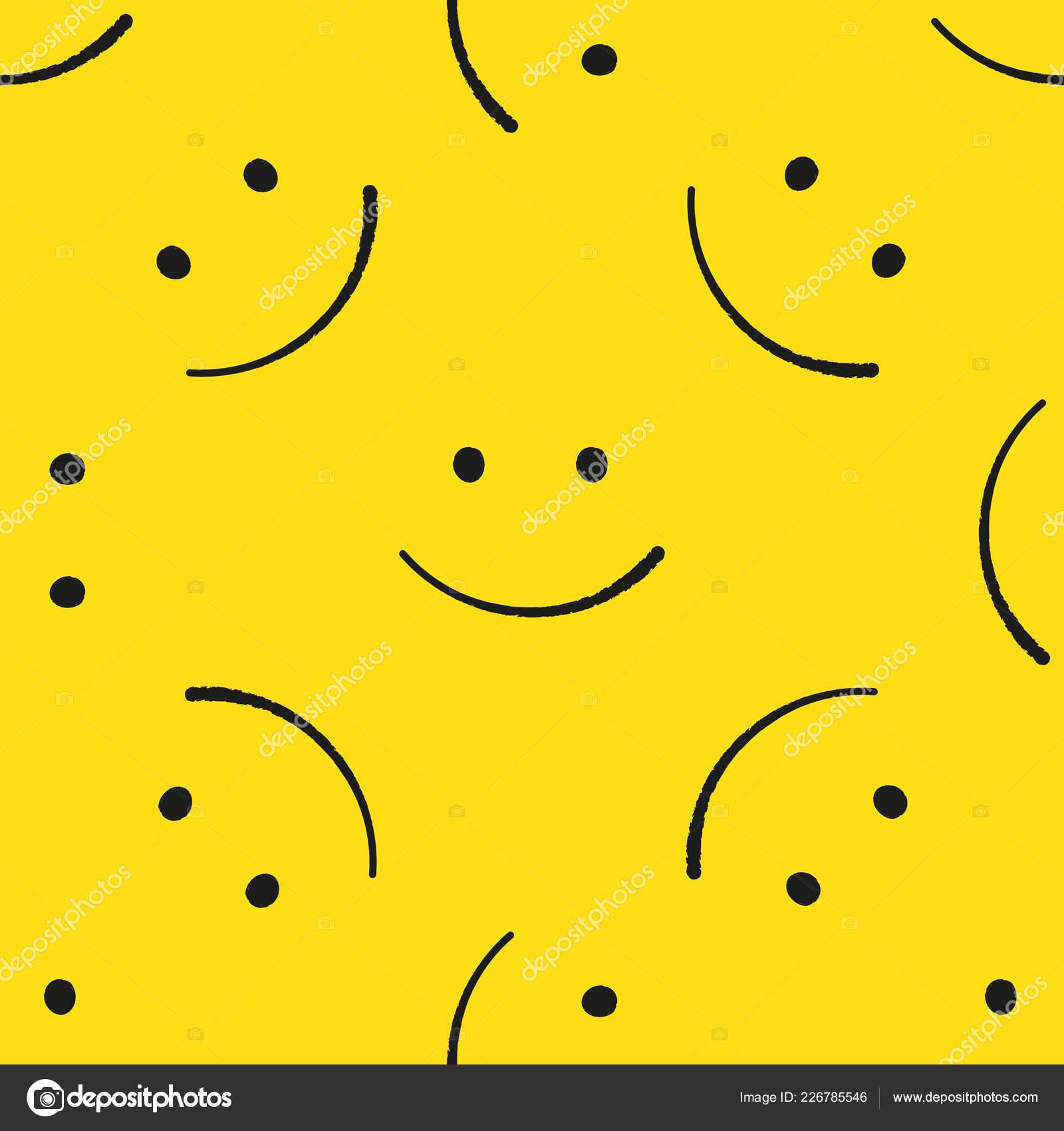 Modele Sans Couture D Emoticones Emoji Jaune Fond De