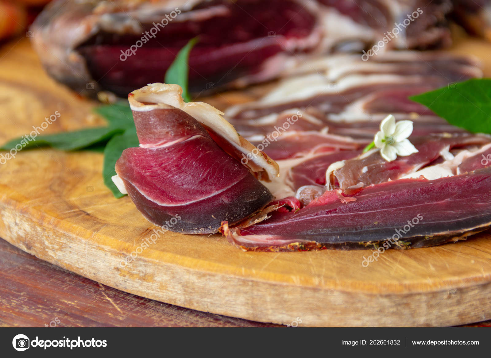 Dried Roe Deer Meat Cut Pieces Cutting Board Macro — Stock