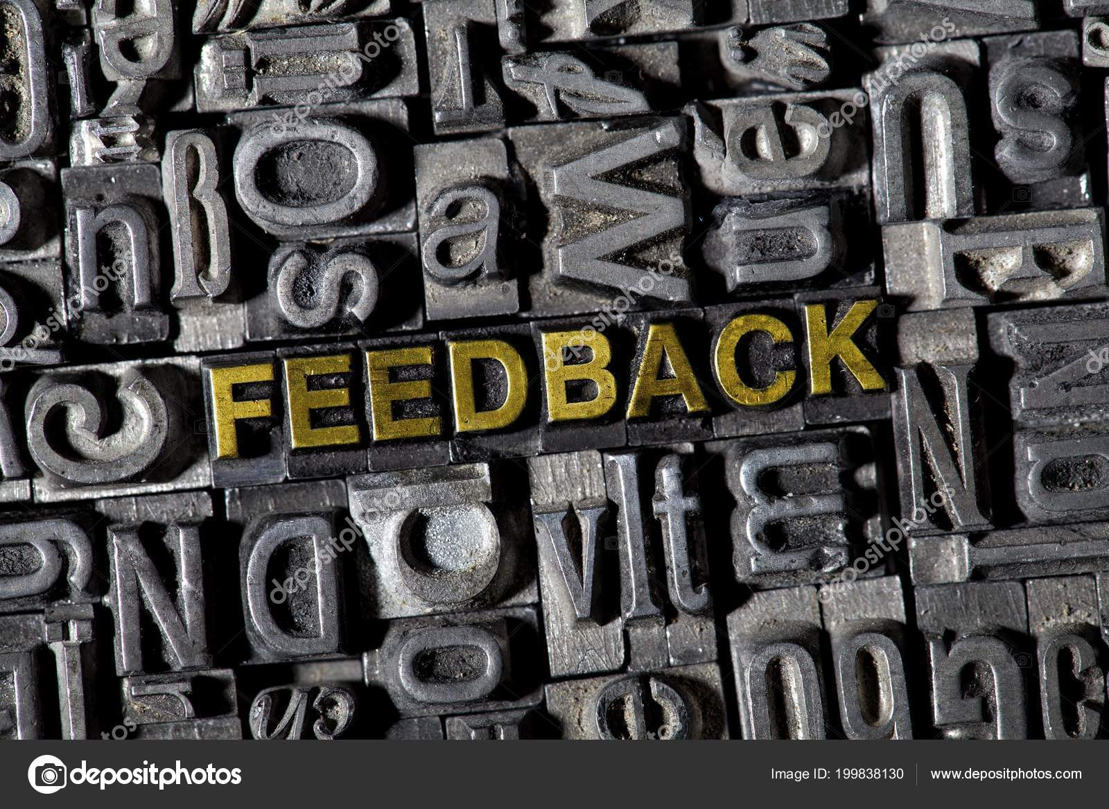 Iron Lead Letters Forming Word Feedback — Stock Photo