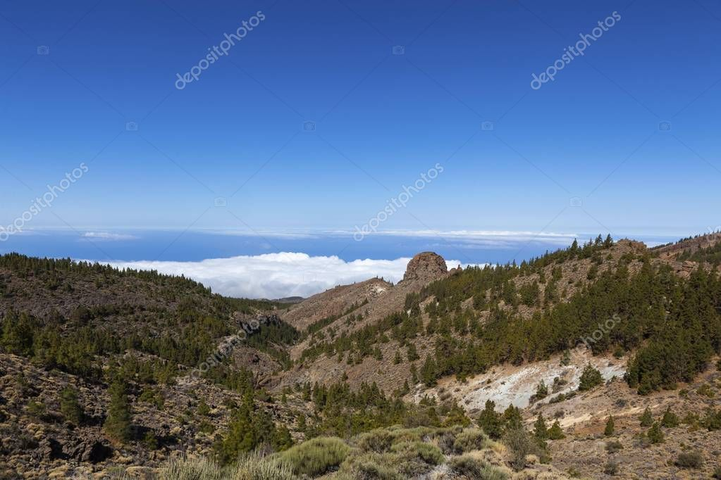 hills and blue sky in Teide National Park, Spain, Europe