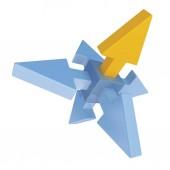 3D obrázek struktura šípů proti bílým pozadím