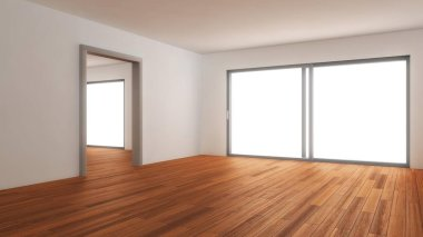 Empty living room, 3D illustration