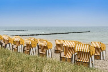 Roofed wicker beach chairs on the beach, Zingst, Fischland-Darb-Zingst, Mecklenburg-Western Pomerania, Germany, Europe
