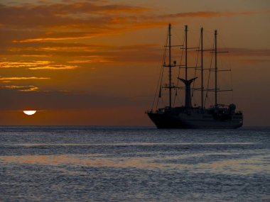 Sailing cruise ship Wind Star of Windstar Cruises, Lesser Antilles, Central America