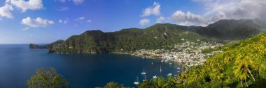 View of the coast of Saint Lucia, Windward Islands, Lesser Antilles, Central America