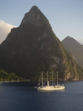 Sailing cruise ship Wind Star of Windstar Cruises in front of the volcanoes Gros Piton, Windward Islands, Lesser Antilles, Central America