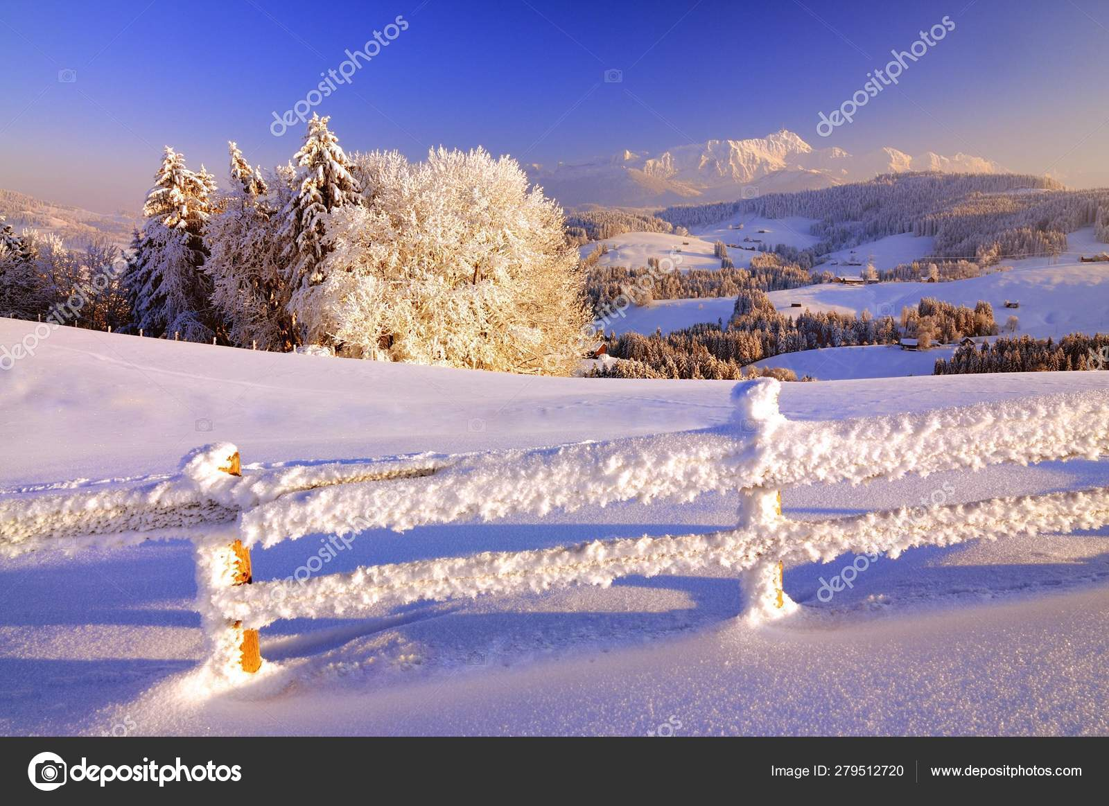 Scenic View Appenzell Winter Landscape Evening Light View