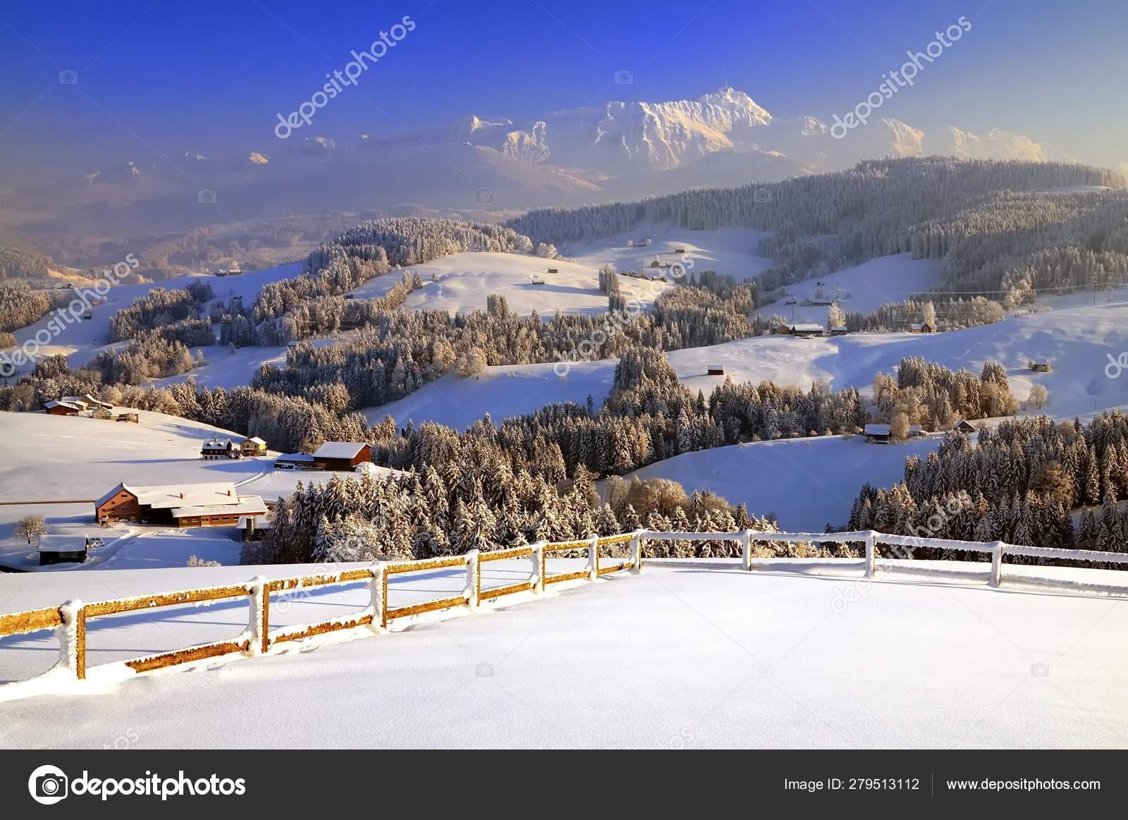 Scenic View Appenzeller Winter Landscape Evening Light View