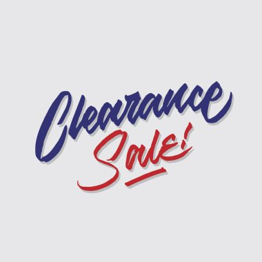 clearance sale hand lettering typography sales and marketing shop store signage poster