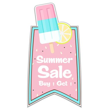 Summer Sale Buy 1 Get 1 Ribbon Ice Cream Pink Background Vector Image