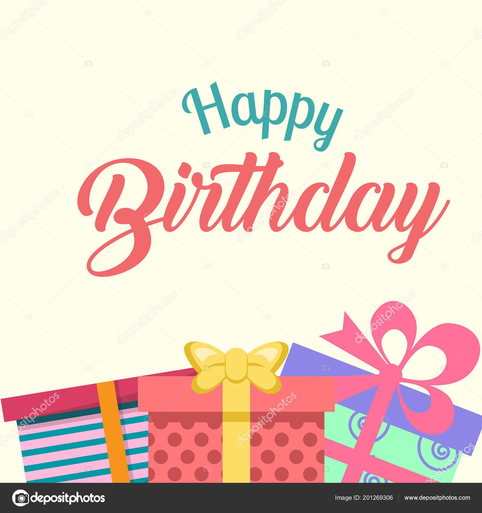 Happy Birthday Gift Box Background Vector Image Stock