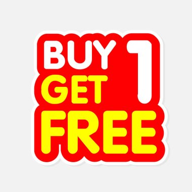 Buy1 Get1 Free Red Yellow Background Vector Image