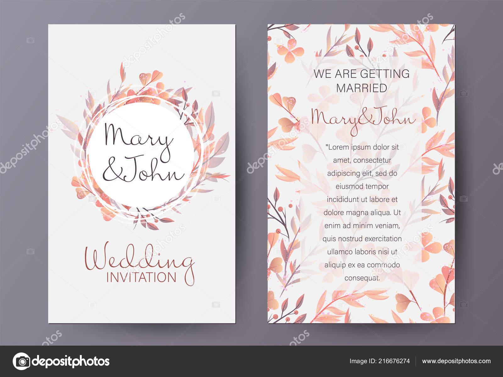 Retro Stil Hochzeit Einladung Vorlage Mit Naturlichen Herbst Muster