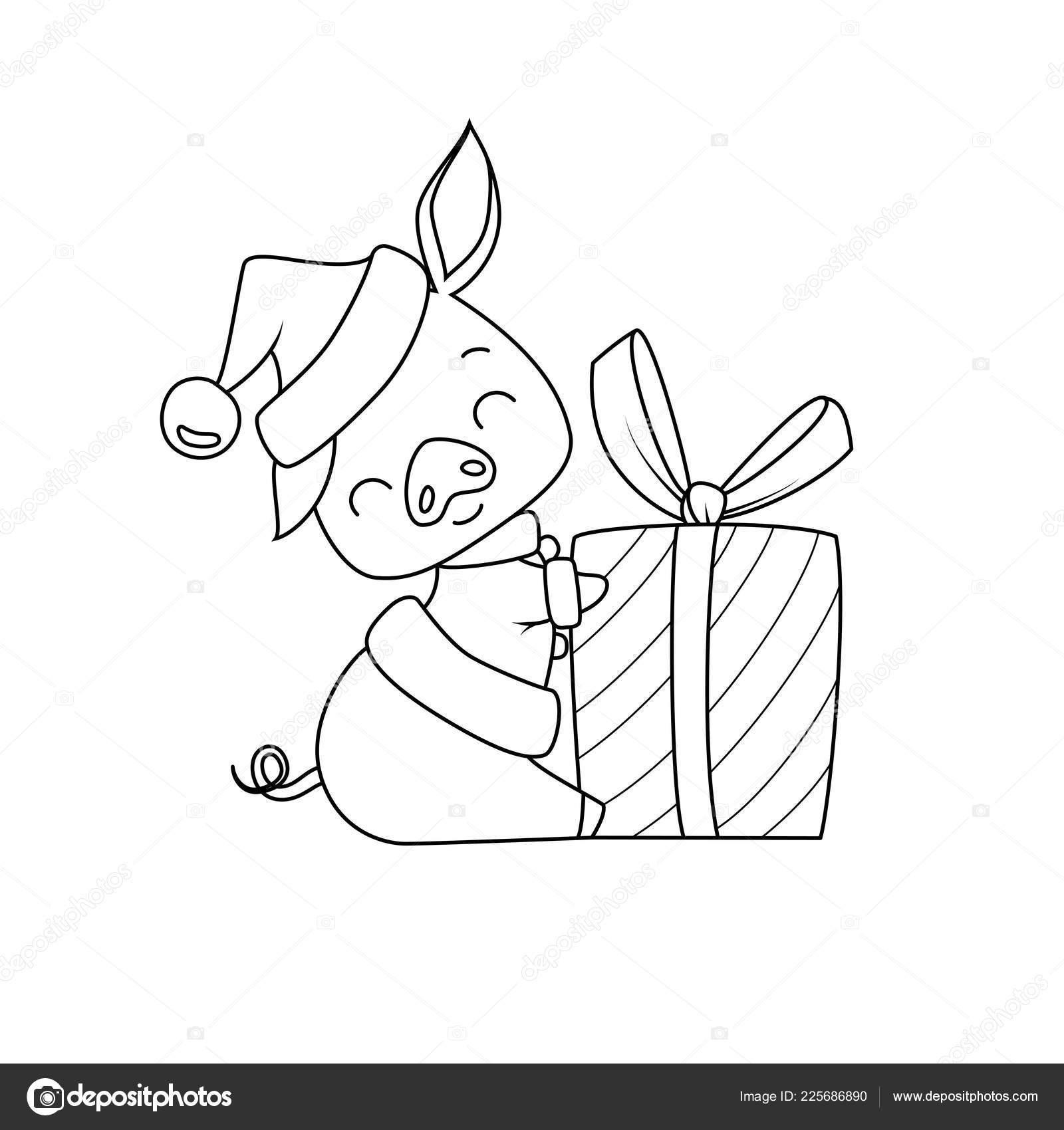 Livre Colorier Cochon Style Dessin Anime Portant Chapeau Pere Noel Image Vectorielle Blackspring1 C 225686890