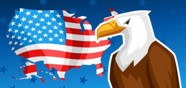 Fourth of July Independence Day greeting card.