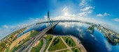 Sphere Planet. Bridge and houses in Riga city, Latvia 360 VR Drone picture for Virtual reality, Panorama