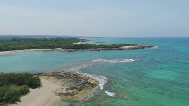 Amazing Blue beach line Drone 4k flight in Italy
