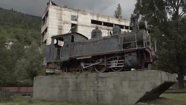Vintage locomotive train monument in Georgia near the road