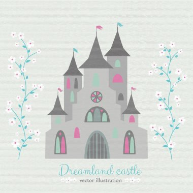 Retro style dreamland castle with white flowers.