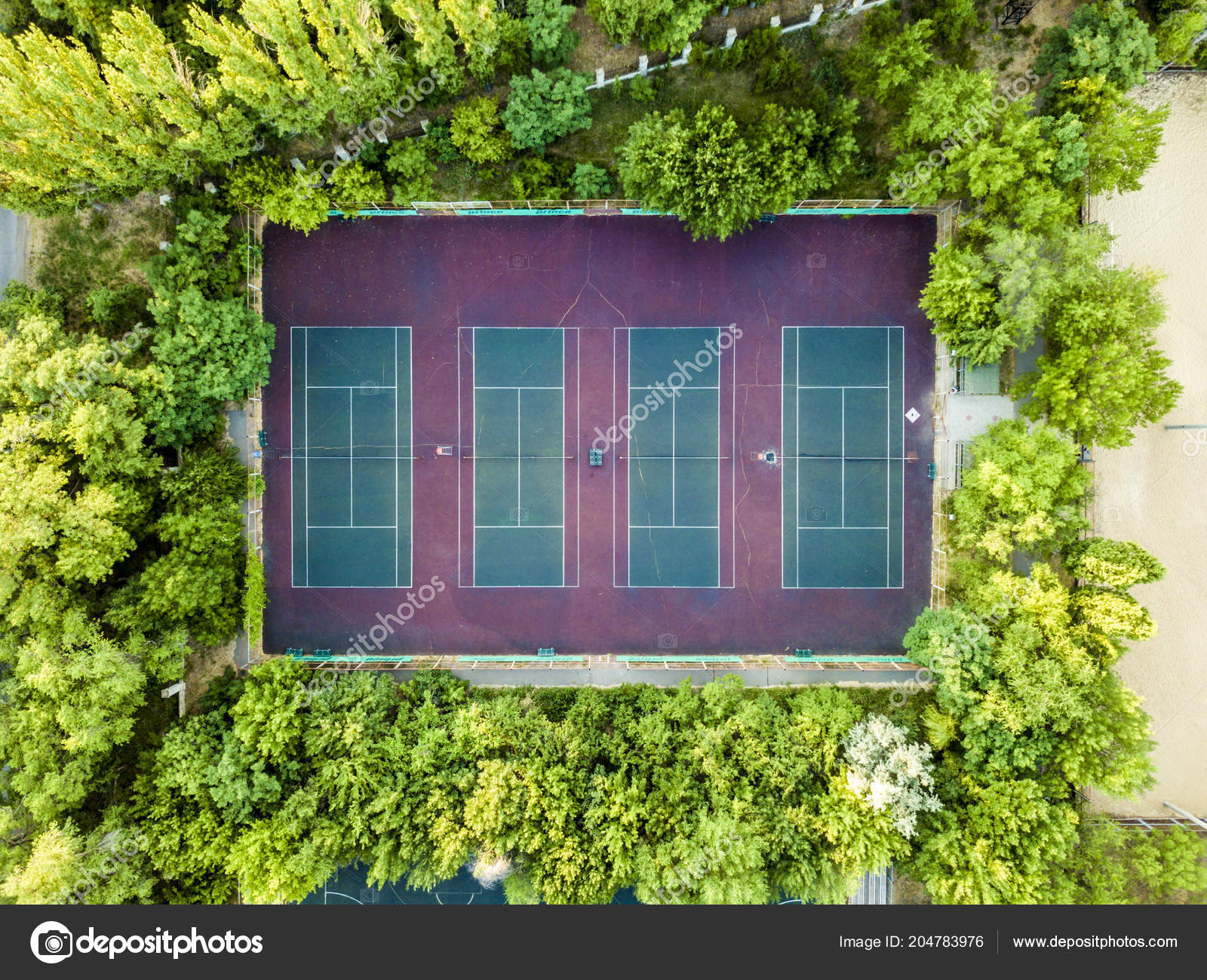 Aerial Top Tennis Sport Ground Court Empty Stock Photo C Mikeshots