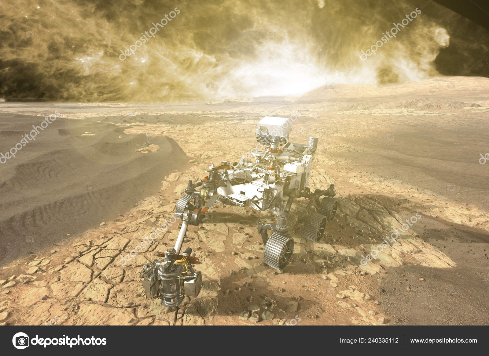 futuristic mars rover exploring vasts of red planet f — Stock Photo