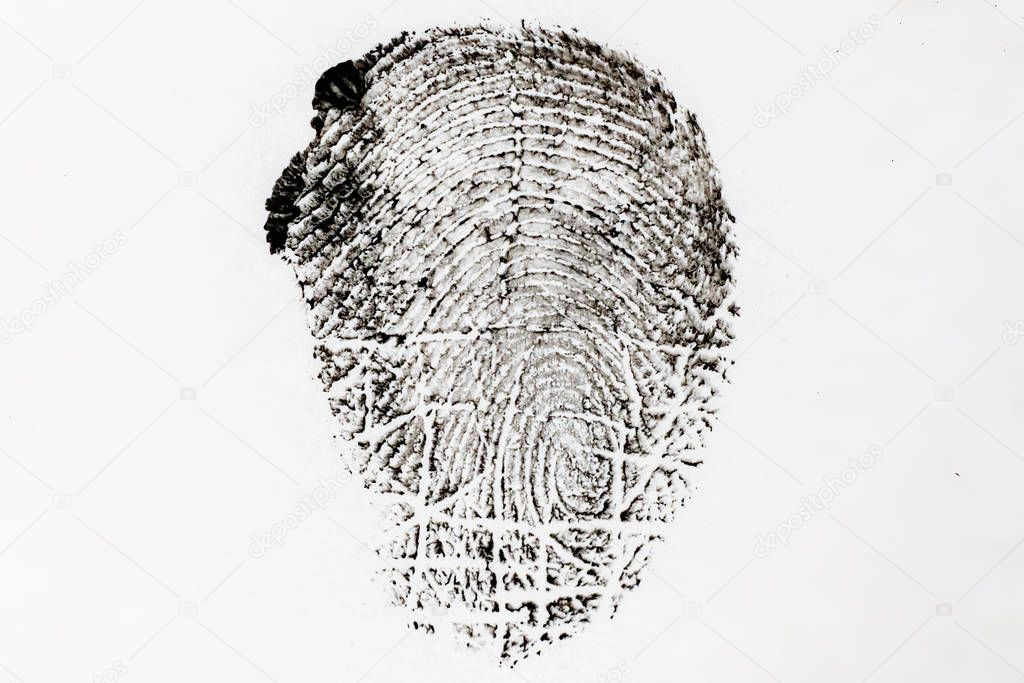 macro shot of persons fingerprint, evidence in a crime case, white and black colorss
