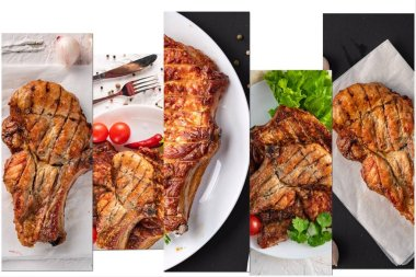 collage of five meat assortie photos on white background