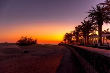 People passing along the waterfront during sunset overlooking the desert and moving palm trees and surrounding houses before the street lights come on from the Grand Canary Island