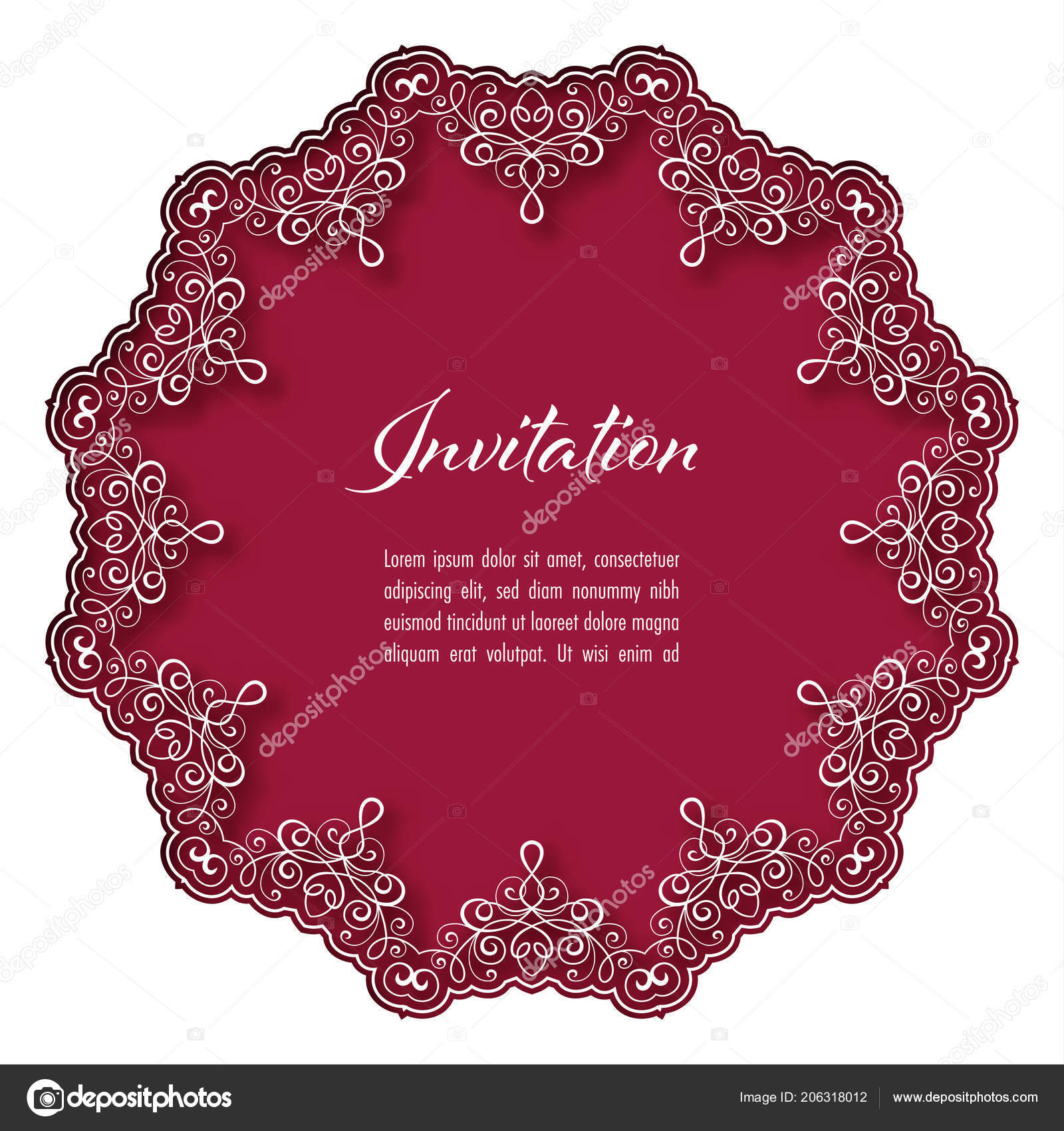 Vintage Background Lace Border Greeting Card Wedding Invitation ...