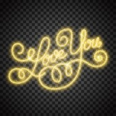 Love you shiny hand lettering with sparkles on transparent background. Vector Illustration
