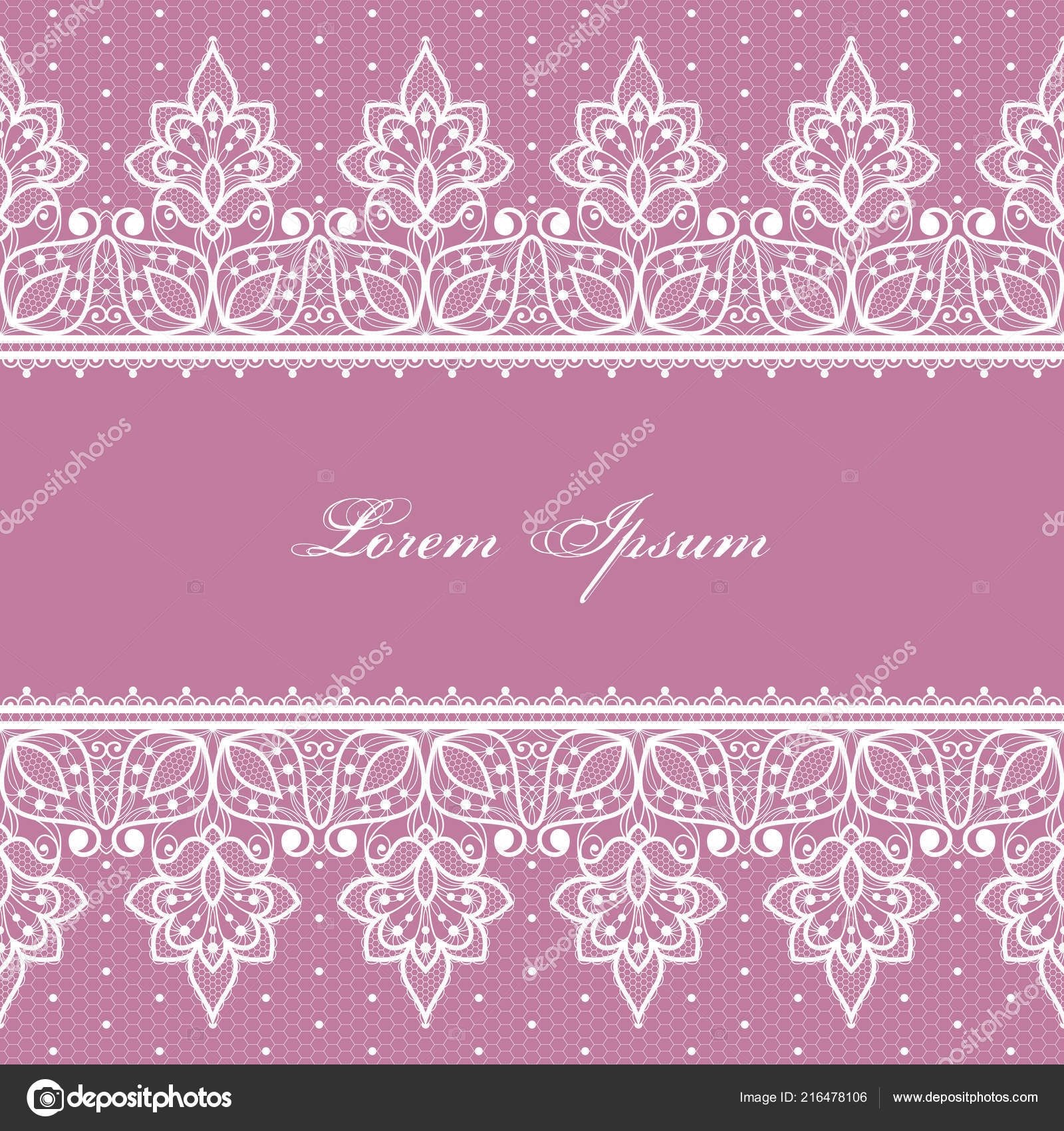 Wedding Card Invitation Template Filigree Lace Floral Pattern