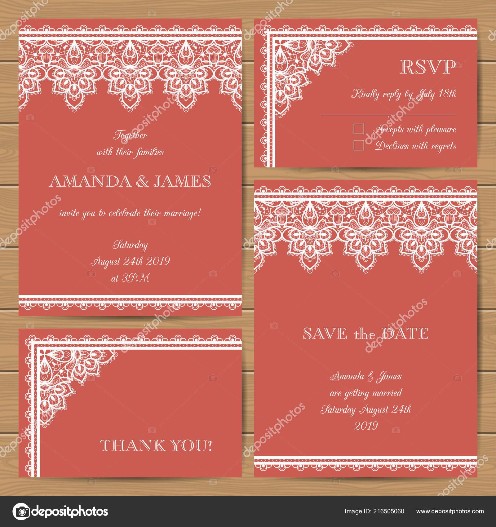 Satz Von Hochzeitskarten Mit Eleganter Spitze Ornamente