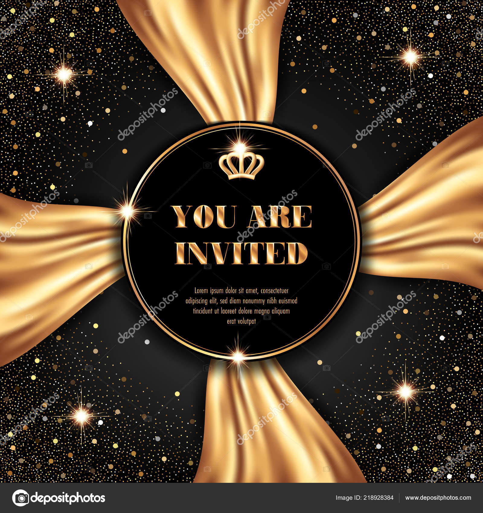 vip invitation template golden crown smooth fabric black background