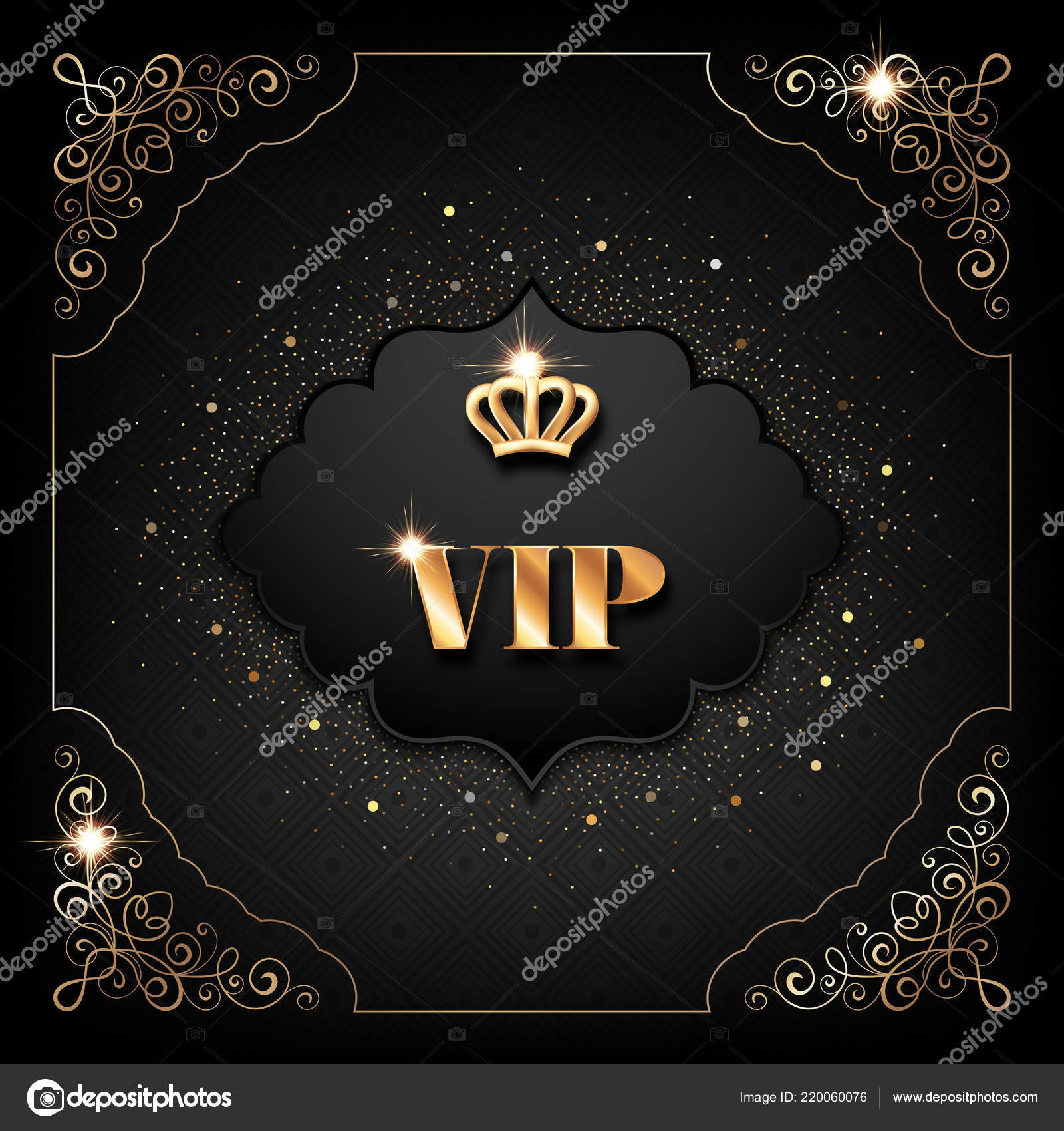 vip invitation template golden crown decorative corners sparkling