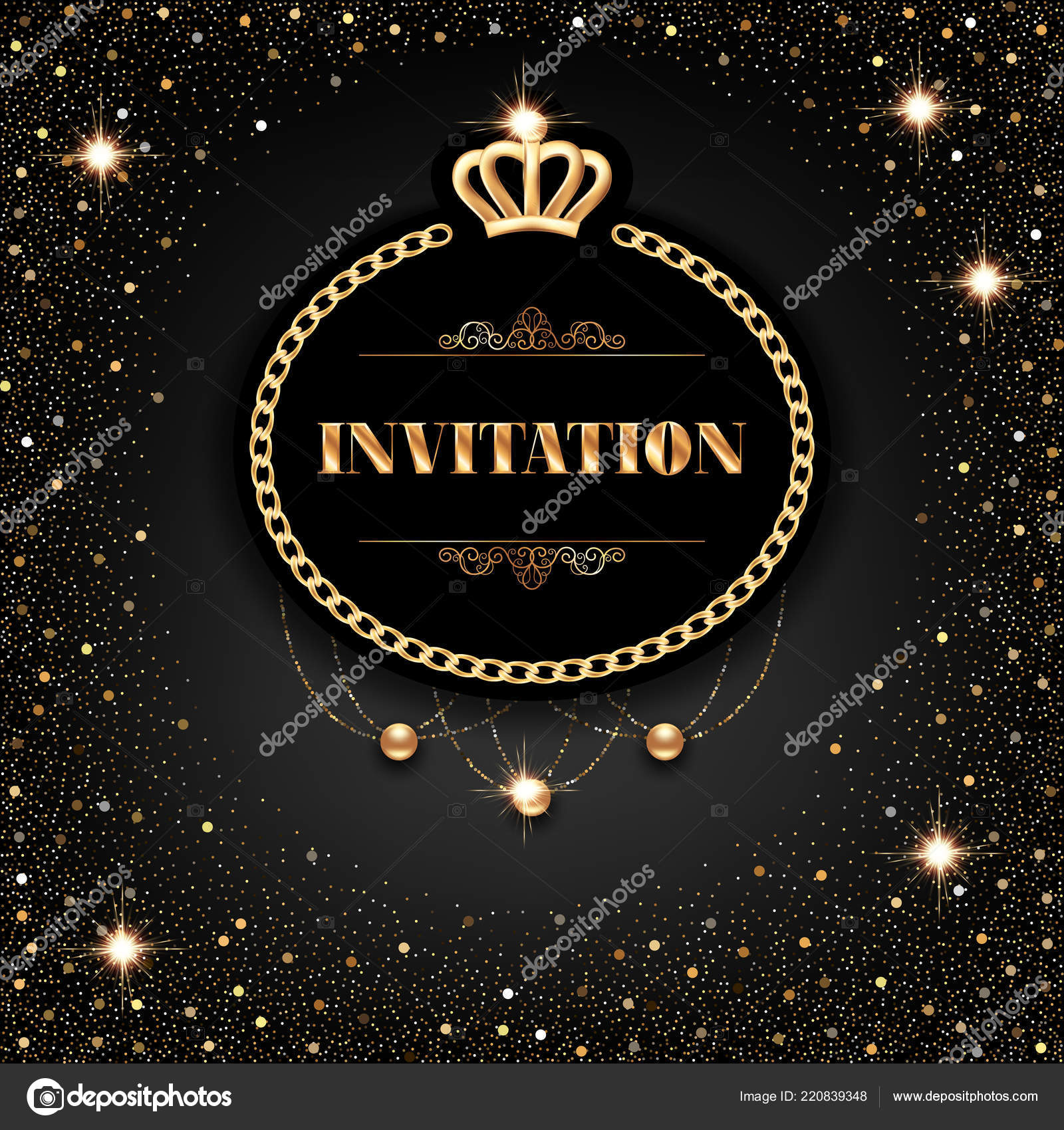 vip invitation template golden crown chain frame sparkling beads