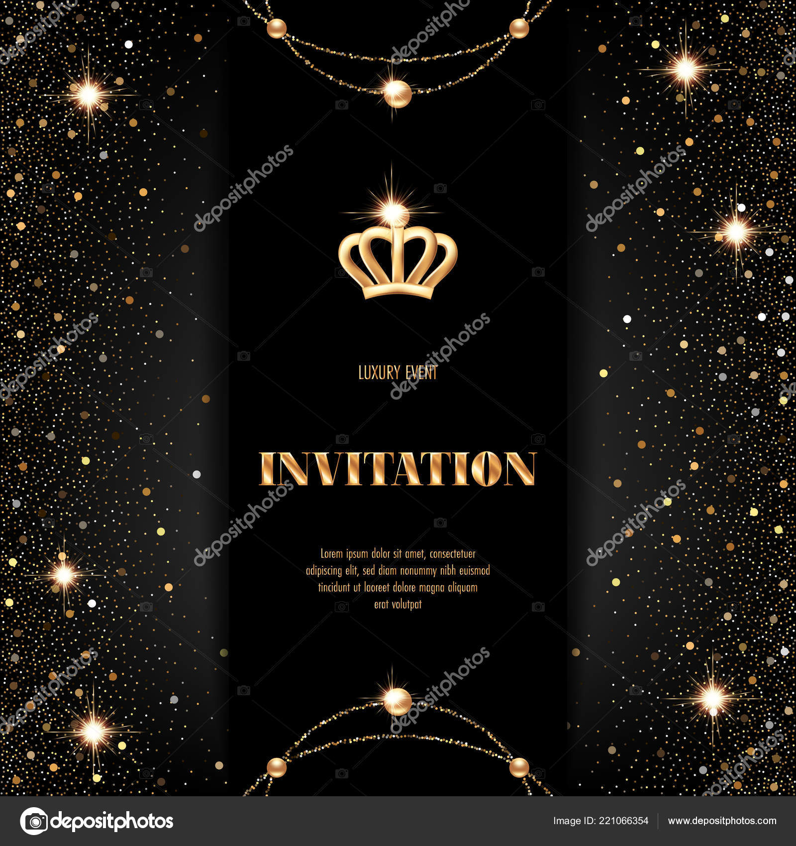 vip invitation template golden crown confetti sparkling beads black