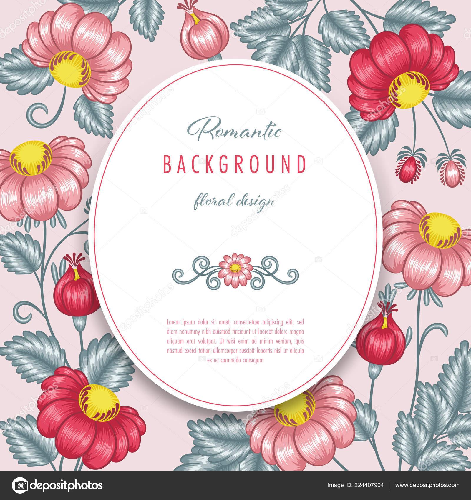 Romantico Sfondo Floreale Con Fiori Stilizzati Cartolina Auguri