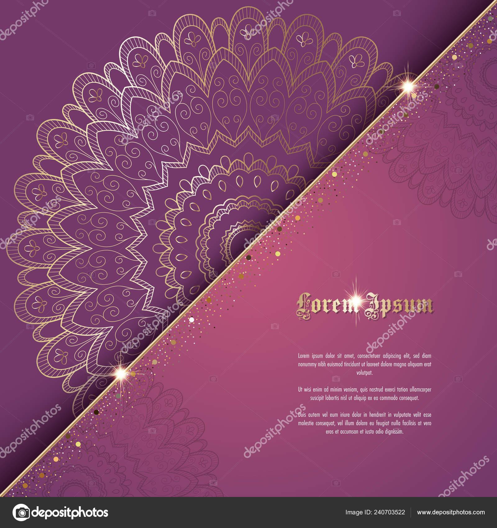 Greeting Card Invitation Template Golden Ornament Confetti