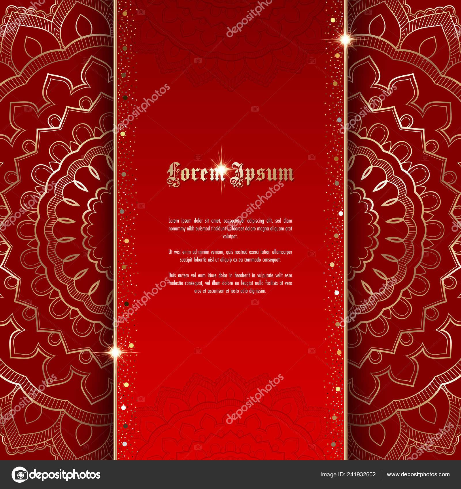 Tarjeta Felicitación Invitación Con Ornamento Oro Confeti