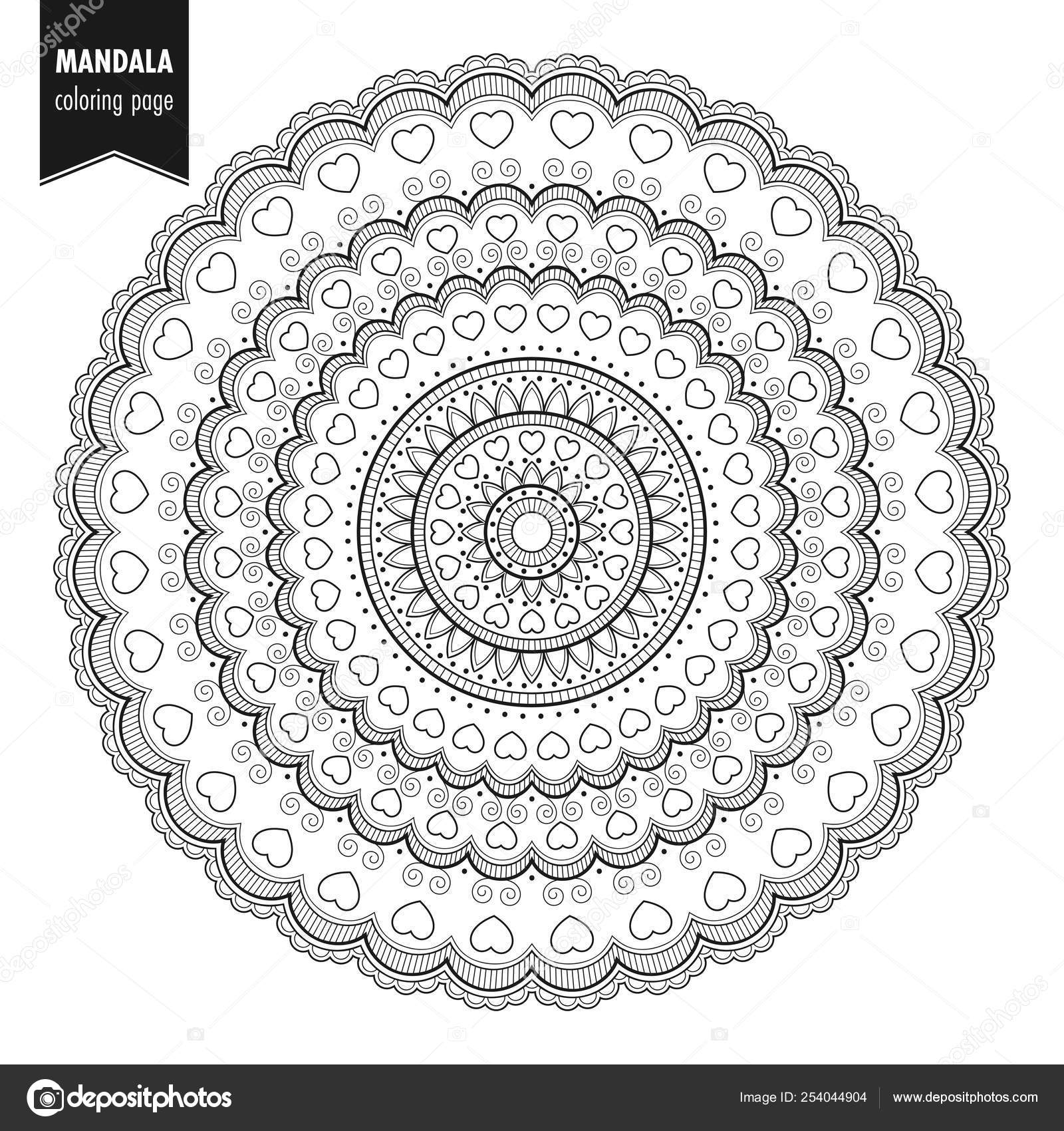 depositphotos stock illustration mandala round ornament bw