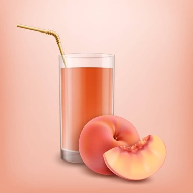 Glass of peach juice