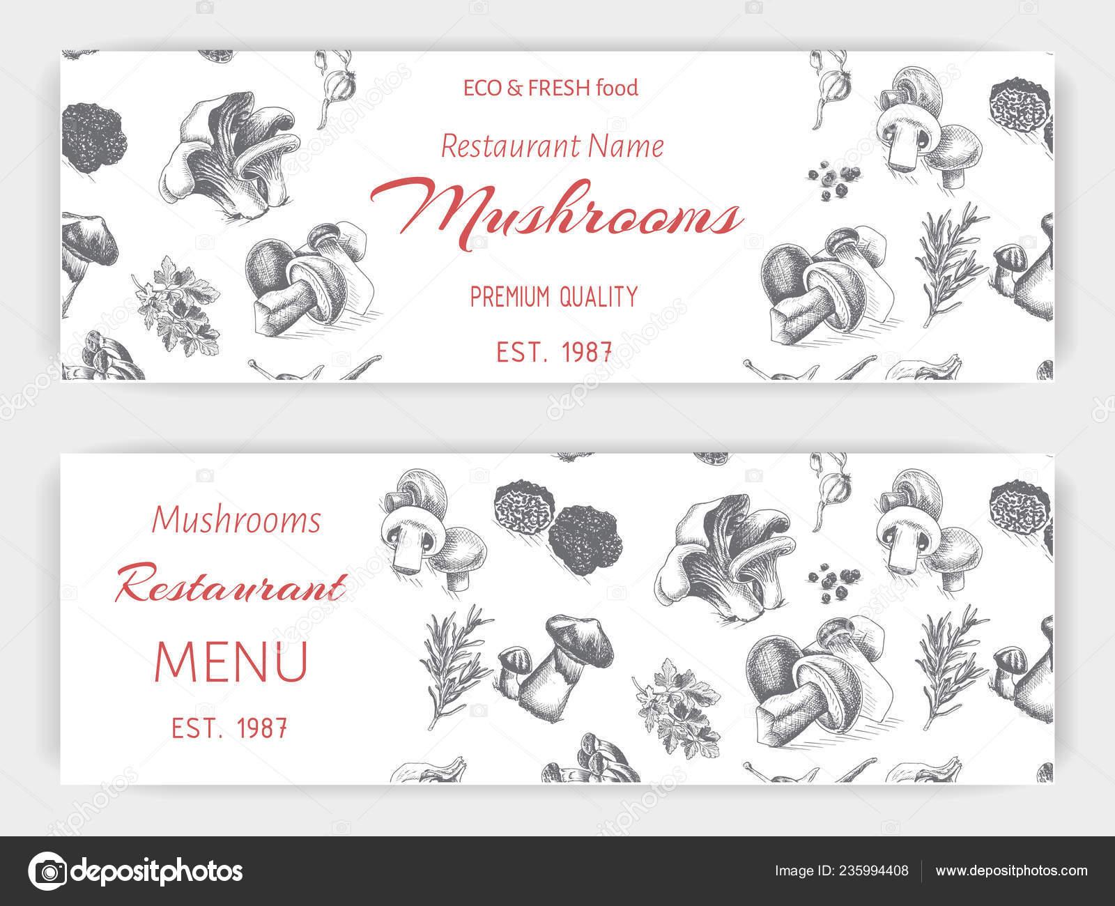 Tarjeta Invitación Del Restaurante Con Varios Bocetos Blanco