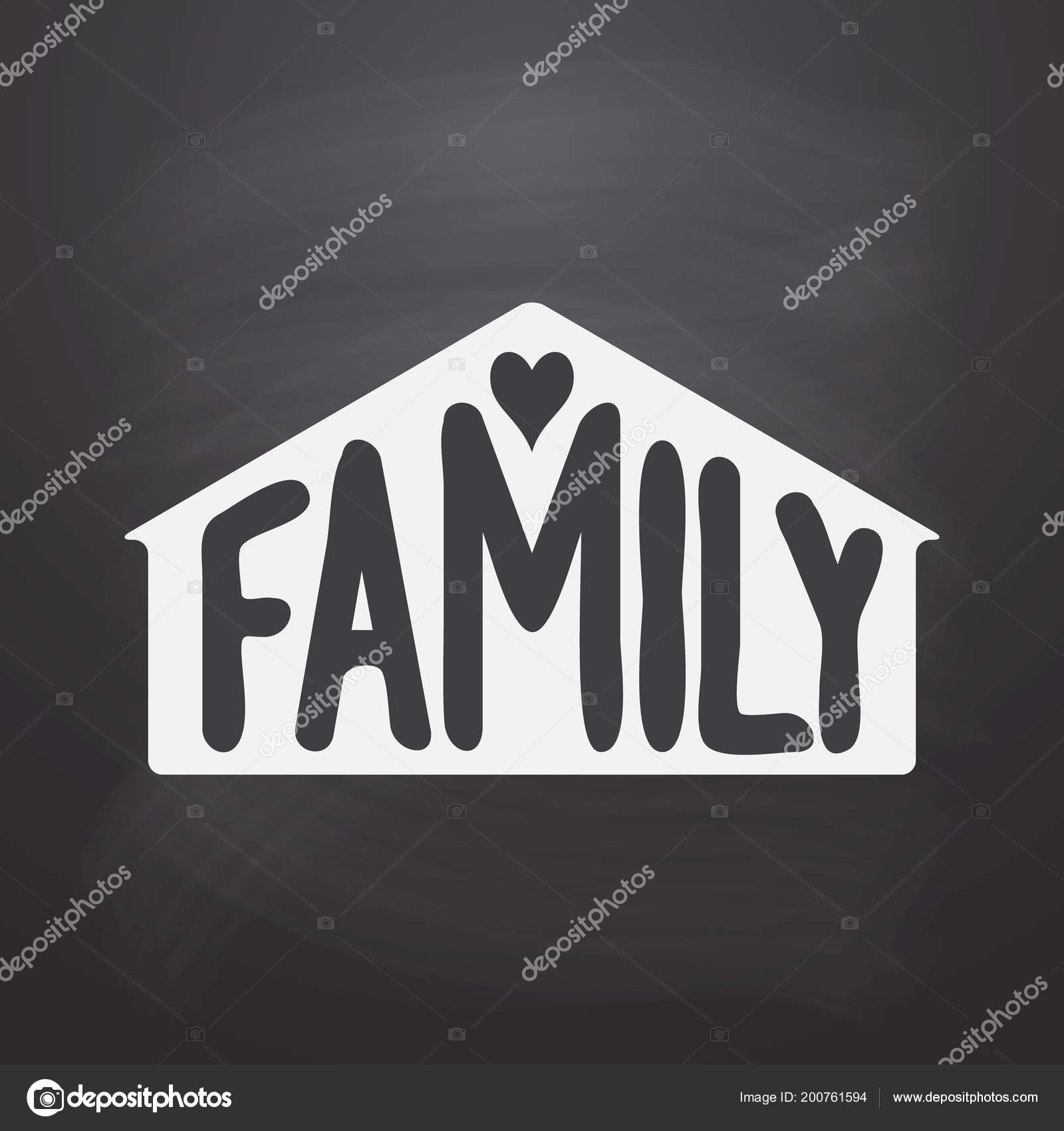 Family Hand Drawn Word House Silhouette Heart Chalkboard Background Vector Stock