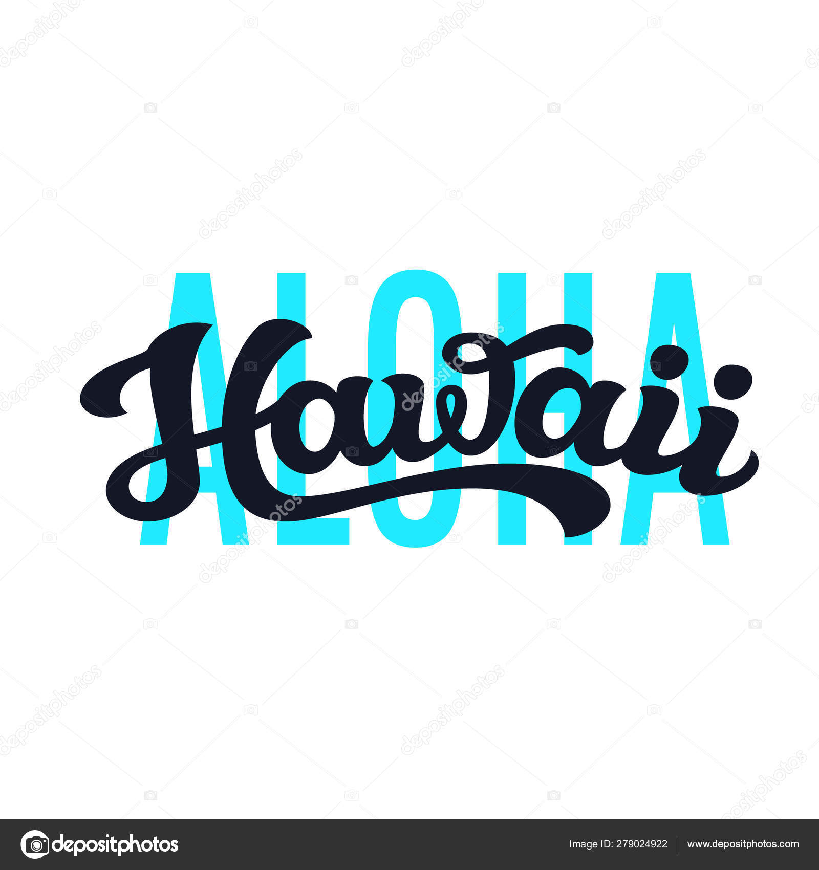 Aloha Hawaii  Vector lettering typography — Stock Vector