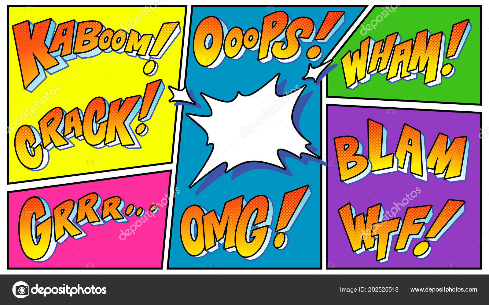 Comic Book Sound Effect Explosions Speech Bubble Vector Pop